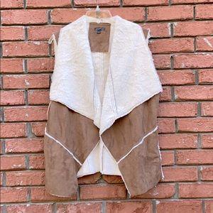 Hannah Faux Suede/Fur Open Front Vest